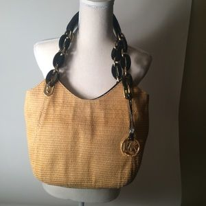 Straw Michael Kors Purse with Gold Detail